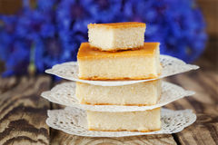 Gebackener Pudding des Hüttenkäses, Stockfotografie