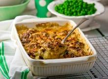 Gebackener Pudding mit Fischen und Pilzen in einer keramischen Form für die Röstung und die grünen Erbsen in einer Schüssel Stockbilder