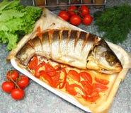 Gebackener silberner Karpfen mit Tomate und Zitrone Stockfoto