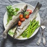 Gebackener Wolfsbarsch mit Spargel und Tomaten Lebensmittelkonzept der gesunden Diät auf einem grauen Hintergrund Stockbild