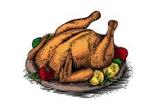 Gebackenes Huhn mit Gemüse lizenzfreie abbildung