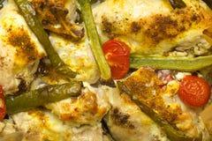 Gebackenes Huhn mit Pfeffern und Tomaten Lizenzfreie Stockbilder