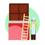 Gebakje en een reuzechocolade Stock Afbeeldingen