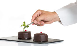 Gebakje met een cake Stock Afbeelding