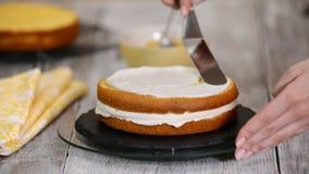 Gebakjechef-kok in de keuken die een cake verfraaien Het maken van cake met ananas het vullen stock footage