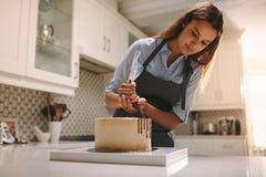 Gebakjechef-kok die een cake maken stock afbeelding
