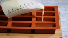 Gebakjechef-kok die een siliconevorm vullen met een chocolademousse Het maken van Frans dessert stock videobeelden