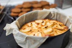 Gebakken appeltaart in een vorm Stock Afbeeldingen