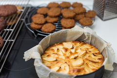 Gebakken appeltaart in een vorm Stock Fotografie