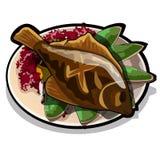 Gebakken bot op een plaat met groenten De schotel van de restauranthandtekening op een witte achtergrond wordt geïsoleerd die Voe vector illustratie