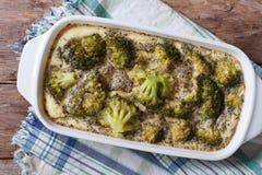 Gebakken broccoli met kruiden en kruiden horizontale hoogste mening royalty-vrije stock afbeeldingen