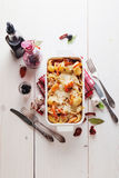 Gebakken Conchiglioni-deegwaren met srimps, kaas en roomsaus Royalty-vrije Stock Foto