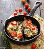 Gebakken die aubergine met groenten en mozarellakaas wordt gevuld met toevoegings aromatische kruiden Stock Afbeeldingen
