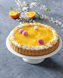 Gebakken die biscuitgebak met mandarijnmousse met room en madeliefje eetbare bloemen wordt versierd Stock Afbeelding