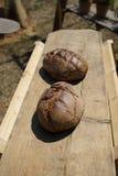 Gebakken die brood in een houten oven wordt gebakken stock fotografie