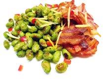 Gebakken Edamame met Bacon stock foto