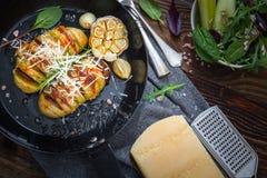 Gebakken hasselback aardappels Royalty-vrije Stock Foto