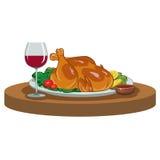 Gebakken kip en een glas wijn Royalty-vrije Stock Fotografie