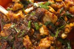 Gebakken kip met Spaanse peperssaus Royalty-vrije Stock Foto's