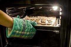 Gebakken koekjes in de oven stock foto's