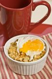 Gebakken Macaroni en kaas met gestroopt ei royalty-vrije stock foto's