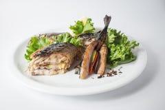 Gebakken makreel met groene salade en citroen op witte plaat royalty-vrije stock foto