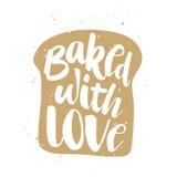 Gebakken met liefde in stuk van brood, het met de hand geschreven van letters voorzien vector illustratie