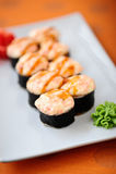 Gebakken sushi Stock Afbeeldingen