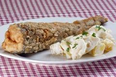 gebakken toppositie met aardappelsalade op een plaat royalty-vrije stock afbeeldingen