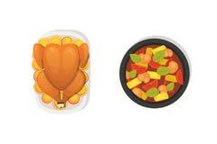 Gebakken Turkije met sinaasappel voor Thanksgiving day in beeldverhaalstijl outumn voedsel stock illustratie