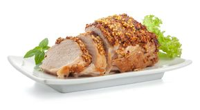 Gebakken varkensvlees met Franse mosterd stock foto's