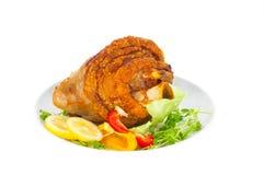 Gebakken varkensvleesvlees met kou en citroen stock foto