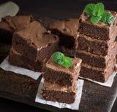 Gebakken vierkante stukken van de pastei van de chocoladebrownie stock foto