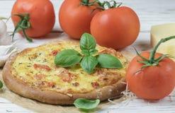 Gebakken vlak brood met tomaten, kaas, knoflook en Basilicum Royalty-vrije Stock Fotografie
