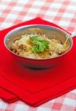 Gebakken vlees en paddestoelen met kaas Stock Fotografie
