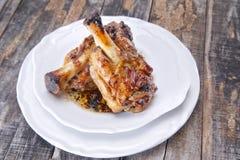 Gebakken vlees, varkensvleesgewricht Stock Foto's
