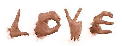 Gebaren van handen. Liefde van mensen Royalty-vrije Stock Afbeeldingen