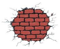 Gebarsten bakstenen muur Vector Illustratie