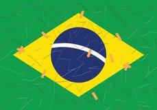 Gebarsten Braziliaanse vlag in stukken vast met zelfklevend verband stock illustratie