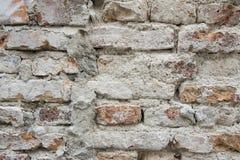 Gebarsten concrete en Oude bakstenen muurachtergrond Royalty-vrije Stock Foto's