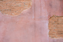 Gebarsten concrete uitstekende bakstenen muurachtergrond Met ruimte voor tekst Royalty-vrije Stock Foto