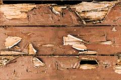 Gebarsten geschilderde houten oppervlakte Stock Afbeelding