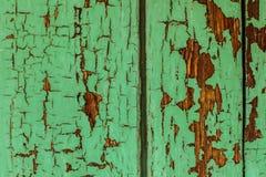 Gebarsten groen verfhout Royalty-vrije Stock Foto's