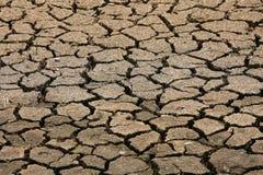 Gebarsten grondachtergrond en leeg gebied voor tekst, droge grond en hete oppervlakte van grond in de zomer, hete omringend rond  Royalty-vrije Stock Foto