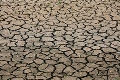 Gebarsten grondachtergrond en leeg gebied voor tekst, droge grond en hete oppervlakte van grond in de zomer, hete omringend rond  Stock Afbeelding