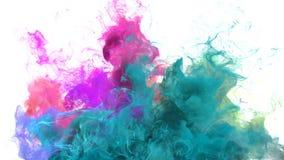 Gebarsten kleur - kleurrijke cyaan magenta vloeibare de deeltjes alpha- steen van de rookexplosie royalty-vrije illustratie
