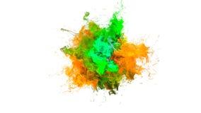 Gebarsten kleur - kleurrijke groene gele vloeibare de deeltjes alpha- steen van de rookexplosie stock videobeelden