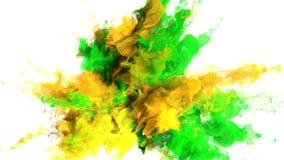 Gebarsten kleur - kleurrijke groene gele vloeibare de deeltjes alpha- steen van de rookexplosie stock video