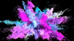 Gebarsten kleur - kleurrijke magenta cyaan vloeibare de deeltjes alpha- steen van de rookexplosie stock footage