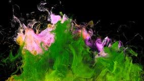 Gebarsten kleur - kleurrijke roze groene vloeibare de deeltjes alpha- steen van de rookexplosie royalty-vrije illustratie